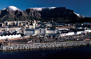 Aerial view of Table Bay Hotel and Table Mountain in the background