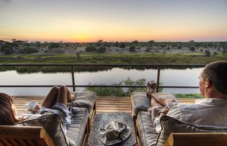 Breath taking view from the suites on 15 meter high cliffs overlooking the magnificent Boteti River