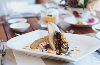 Poached Pears with Sweet Nut Stuffing