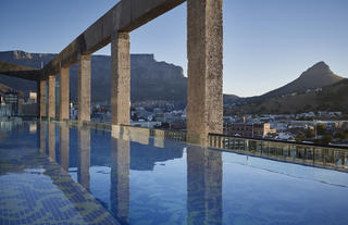 The rooftop pool offers beautiful views of Table Mountain