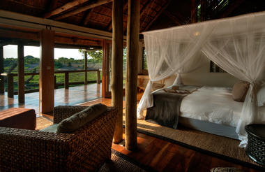 Spacious thatch and timber luxury rooms feature en-suite bathrooms and open plan bedroom and lounge areas.  Private wooden viewing decks span the entire width of each room, while glass sliding doors allows natural light to flood in.