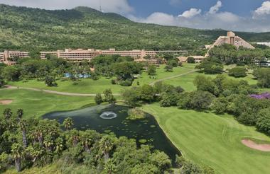 Aerial view of the Sun City Hotel, gardens and The Cascades